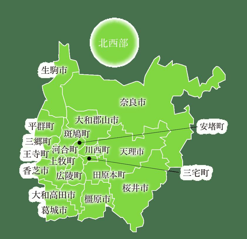 北西部エリアのマップ